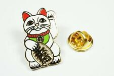 Maneki Neko Lucky Cat Japanese Asian Fortune Beckoning Hat Jacket Tie Lapel Pin