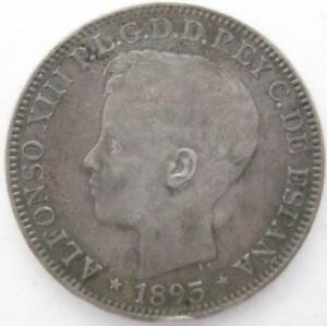 Puerto Rico under Spain Peso  1895 VF rim mount removed  #274