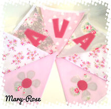 Baby Girl Personalised Name BUNTING/BANNER Vintage Florals, Pink Grey Flowers