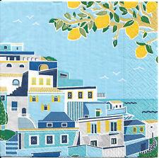 Lot de 4 Serviettes en papier Bord de Mer Citrons Decoupage Collage Decopatch