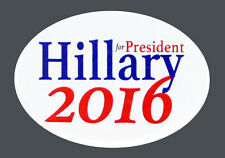2016 HILLARY for PRESIDENT PIN BACK OVAL CAMPAIGN BUTTON, clinton wht