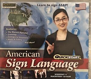 Quickstart American Sign Language Pc New Win7 XP Alphabet Greetings Emergencies