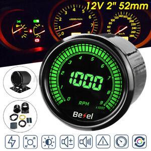 "Universal 2"" 52mm Car Tachometer Tacho 0-9000 RPM Gauge Meter 10 Color LED"
