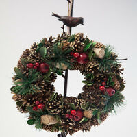 Christmas Hanging Door Wreath Pine Cones and Berries 2 Designs Xmas Decor
