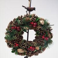 Christmas Hanging Door Wreath Pine Cones and Berries 2 Designs Xmas Decor