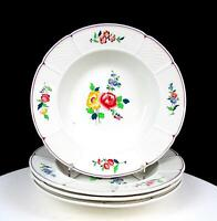 "WEDGWOOD CHINA #A5860 BASKETWEAVE AND FLORAL 4 PIECE 8 1/4"" RIM SOUP BOWLS"