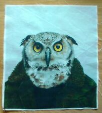 Animal Selfie Owl Fabric, Material Remnant 10 inch x 8.5 inch.