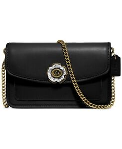 NWT Coach Parker Turnlock Crossbody Chain - 89287 - Black Leather
