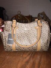 NWT DKNY SM SHOP TOTE Handbag Brown Monogram Satchel Bag Purse R84A7A16 MSRP$148