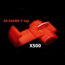 500x Red 22-18 AWG Scotch Lock T Tap Car Audio Electronics Connectors Terminals