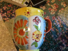 Anthropologie Biscuit Mug - sunny yellow and orange floral