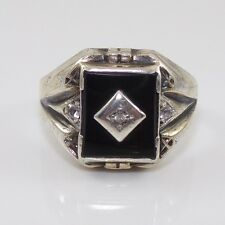 Vintage Estate Sterling Silver 10K Gold Art Deco Onyx Diamond Ring Size 10.5