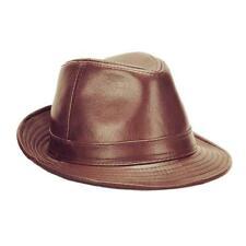 Men 100% Genuine Black Brown Cowhide Leather Fedora Trilby Hat Jazz Cap Top hat