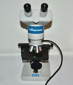 Used Reichert Jung Series 150 Binocular Microscope With 4 Objectives 4/10/40/100