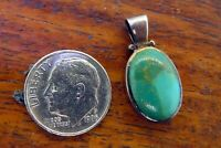 Vintage sterling silver NATIVE AMERICAN INDIAN GREEN TURQUOISE PENDANT charm