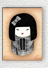 ASIAN KOKESHI DOLL BLACK #1 FRIDGE MAGNET -dfs2Z