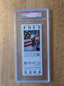 1976 Super Bowl X STEELERS VS COWBOYS PSA 8 Graded FULL Ticket RARE Swann MVP