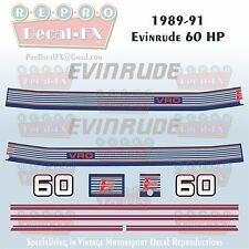 1989-91 Evinrude 60 HP 3 Cyl Outboard Reproduction 12 Piece Marine Vinyl Decals
