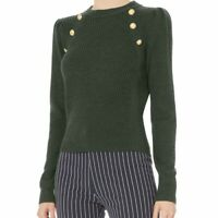 Veronica Beard Women's Sz XS Pearson Gold Military Button Merino Wool Sweater