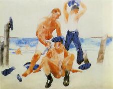 Demuth Charles Three Sailors On The Beach Canvas 16 x 20   #4930