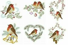 Christmas Robin 10 Quilt Blocks Embroidered Beautiful