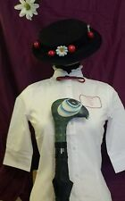 MARY POPPINS INSPIRED 3 pce .BLOUSE. HAT & UMBRELLA. FAST POST OPTION LISTED