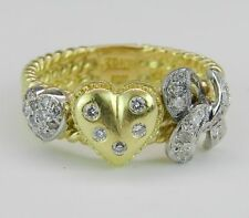 Cocktail Right Hand Ring Size 7.75 18K Yellow Gold Diamond Heart Ring
