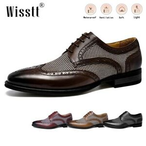 Mens Leather Oxford Dress Shoes Lightweight Lined Pointed Toe Lace Penny Loafers