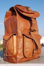NEW Real genuine Leather Mens Backpack Satchel Brown Vintage Bag laptop Rusksack