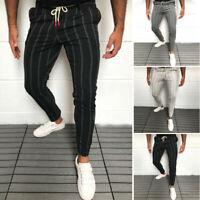 Men's Casual Mid Rise Skinny Pencil Pants Stripe Print Slim Fit Long Trousers