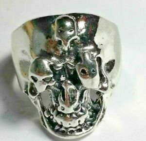 Rare Vintage Great Jewelry Silver Memento Mori Skull Ring