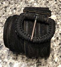 Yves Saint Laurent YSL 1980's Wide Black Embroidered Suede Belt
