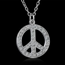 Crystal Rhinestone Silver Tone Round Peace Sign Pendant Necklace Fashion Jewelry