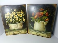 Lot of 2 Metal Tin Sign Flowers Picture Plaque Home Decor Rustic Vintage, Nice!