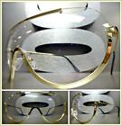 New CLASSIC VINTAGE RETRO SHIELD Style Clear Lens EYE GLASSES Gold Fashion Frame