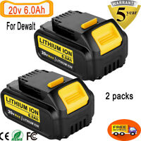 For DeWalt 20V 20 Volt Max XR 6.0AH Lithium Ion Battery DCB206-2 DCB205-2 2 Pack
