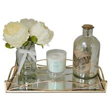 Gold Metal Rectangular Serving/Dressing Table Tray With Mirror Glass