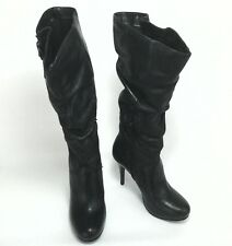 Cathy Jean Womens Black Genuine Leather Tall Boots Stiletto Knee US 10 EU 40-41