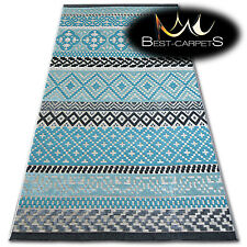 LISBON STYLE MODERN RUG turquoise diamonds 'LISBOA' beautiful weaving CARPETS
