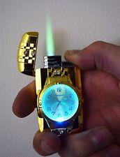 GOLD JET TORCH LIGHTER WATCH GAS WINDPROOF LIGHTER FLAME  CIGARETTE LIGHTER UK