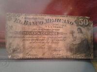 Mexico Banknote 50 Centavos Banco Mejicano Chihuahua 1878 P-S144 *G* ^)