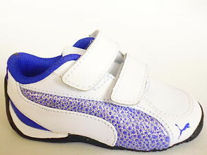 PUMA D Cat 5 Glitter Baby/Childrens Shoes, White/Blue Sneakers Trainers Large
