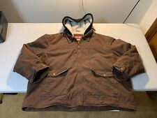 Men's Wrangler Sherpa Lined Hooded Jacket Size 3XL Brown