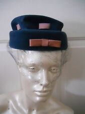 Vintage Women's Hat Gimbels Italy Union Made Blue With Lavender Ribbon And Bow