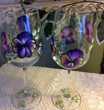 hand painted purple pansie wine glasses - set of 2