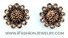 Dark Rose Gold Tone Flower Filigree Small Little STUD EARRINGS Fashion Jewelry