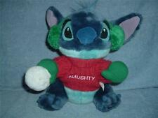 "Lilo and Stitch NAUGHTY Plush Disney Store Snowball Ear Muffs 11"" used christmas"