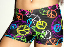 NEW Neon Peace Sign lycra shorts volleyball,dance, gymnastics  SZ Child Large 12