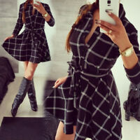 Fashion Ladies Women Plaid Check Dress Long Sleeve Casual Shirts Mini Dress Belt