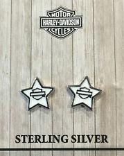 HARLEY-DAVIDSON® BAR & SHIELD WHITE ENAMEL STAR POST/STUD EARRINGS HDE0495